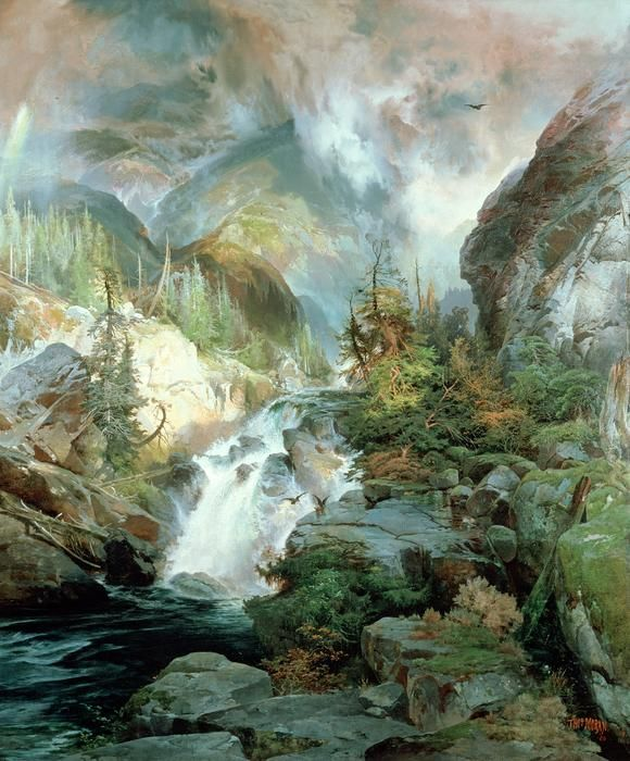 "Solitude nice landscape /& old trees stream 36/"" Large Oil painting Thomas Moran"