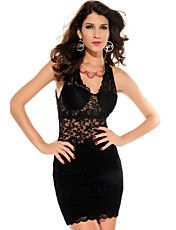 Black Allover Strappy Fitted Cup Bodycon Lace... – USD $ 19.79