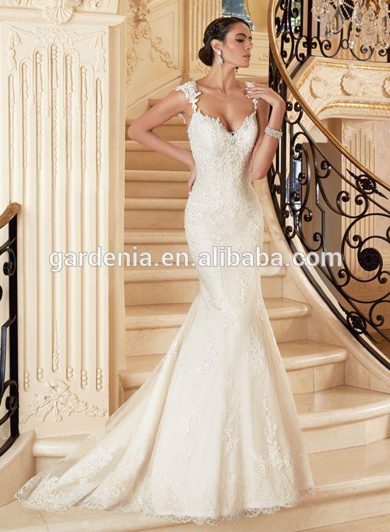 vestidos de novia marfil+sirena+espalda descubierta+raso+encaje