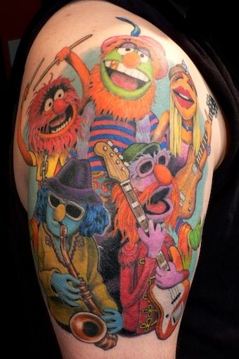 fun and colorful muppet half sleeve by andrea at slave to the needle in seattle wa body art. Black Bedroom Furniture Sets. Home Design Ideas