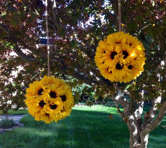 Sunflower Kissing Ball - 10 inches, Sunflower Ball, Sunflower Pomander, Kissing Ball, Sunflower Wedding, Wedding Decor, Sunflower Decor #decorationevent