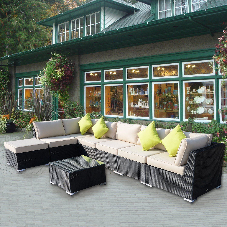 Best Outsunny 8Pc Rattan Sofa Garden Furniture Aluminum Outdoor Patio Set Wicker Sofa Set Seater 640 x 480