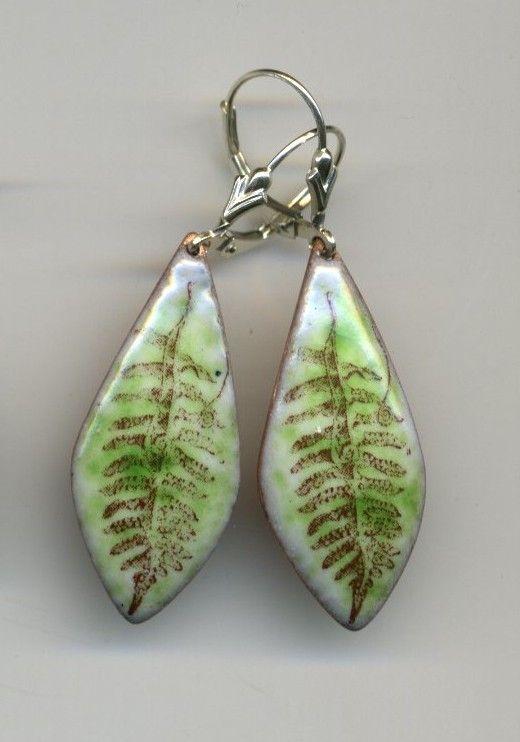 Fern Earrings Enameling Jewelry Cloisonne Jewelry Metal Jewelry