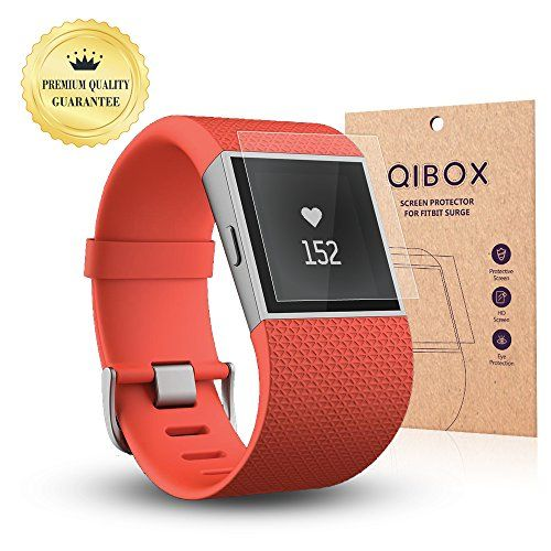QIBOX Premium HD Clear Tempered Glass Screen Protector for for Fitbit Surge Fitness Superwatch 9H Hardness Multilayer Explosionproof and AntiBubble Screen Guard ** Click on the image for additional details.