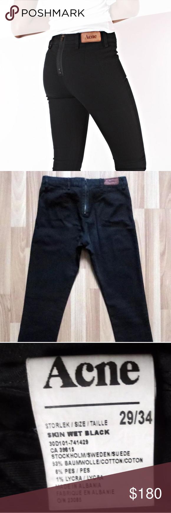 acne skin wet black jeans