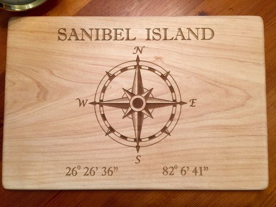 Nautical Compass Rose Laser Engraved Cutting Board By
