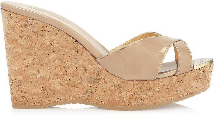 fccbcf1f7466 Jimmy Choo PANDORA Nude Patent Leather Wedge Sandals