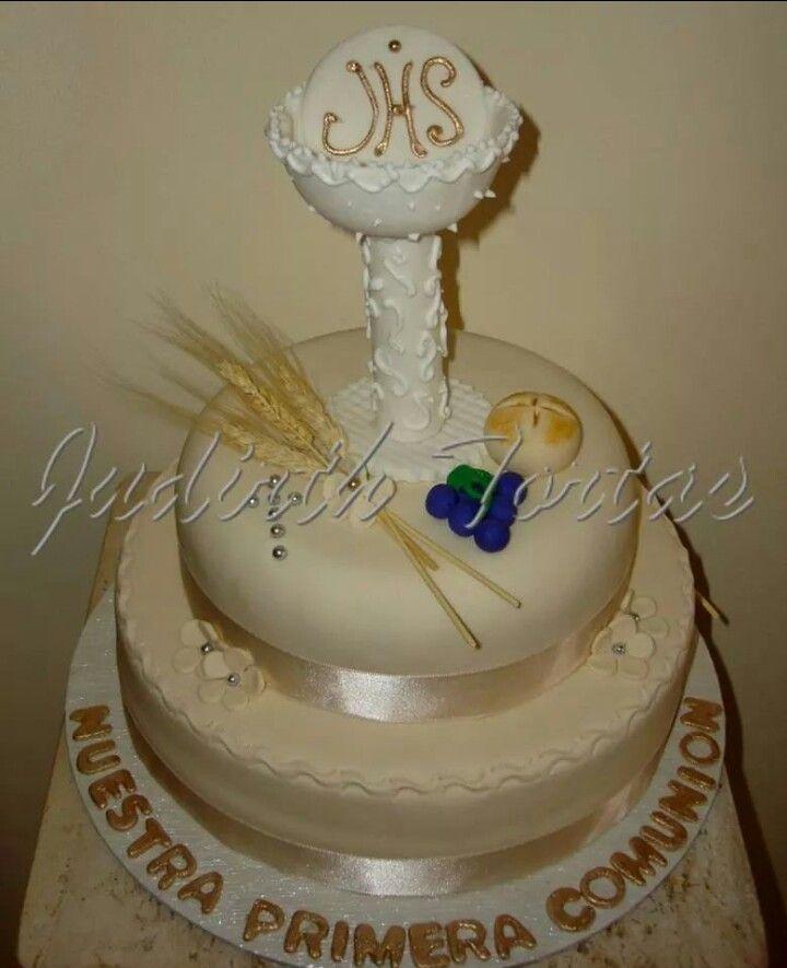 "Torta decorada con fondant ""Primera Comunión"""