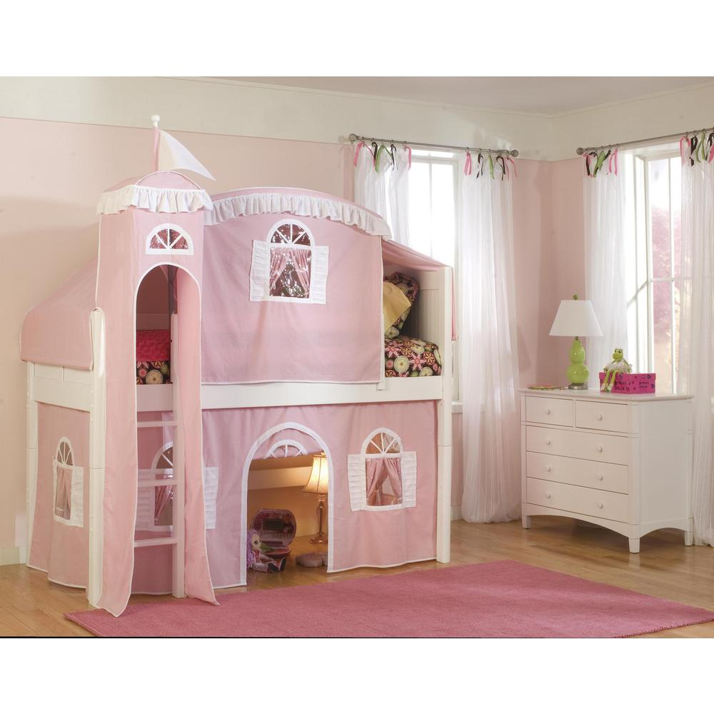 Best Bolton Furniture Cottage White Twin Low Loft Bed With Pink 640 x 480