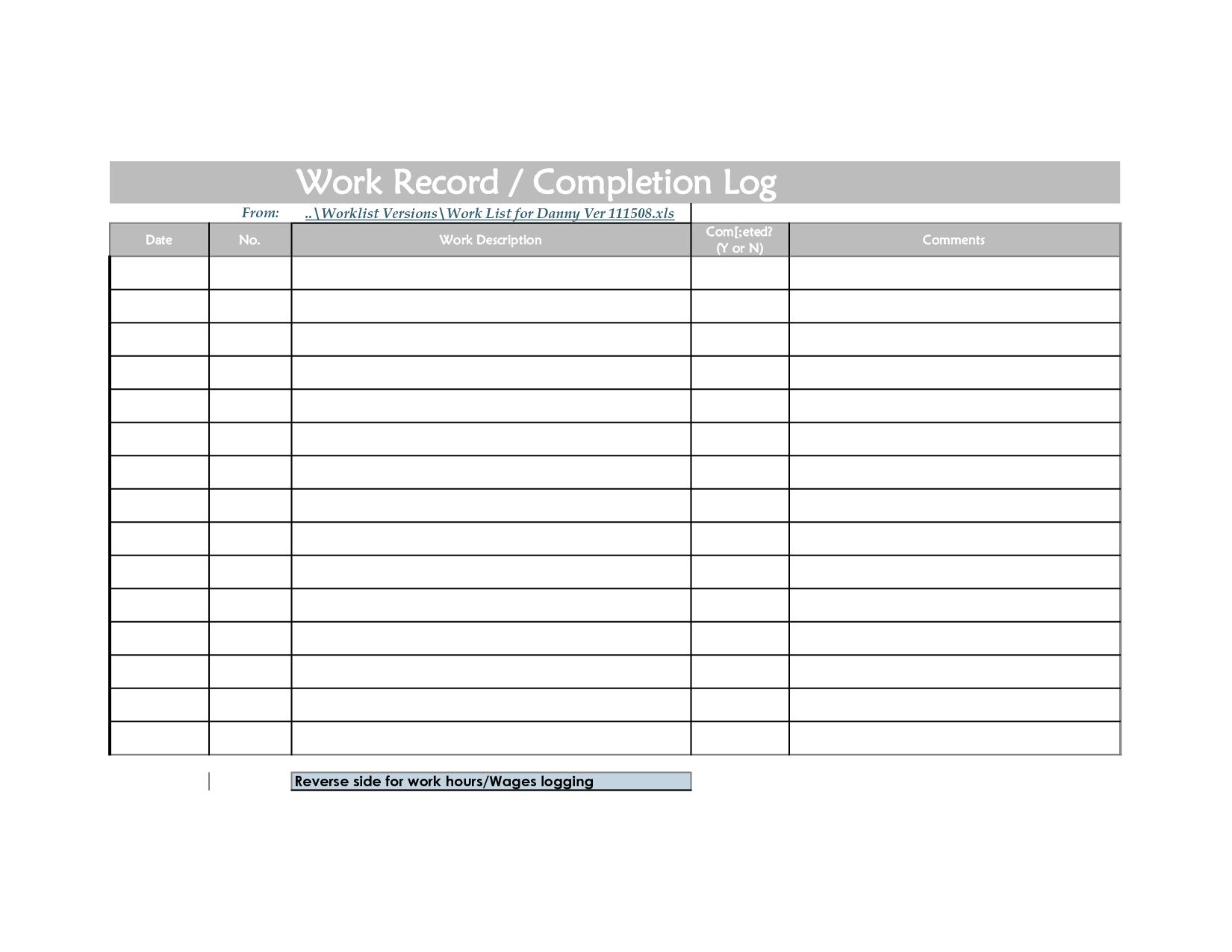 Weekly Work Log Sheet Template