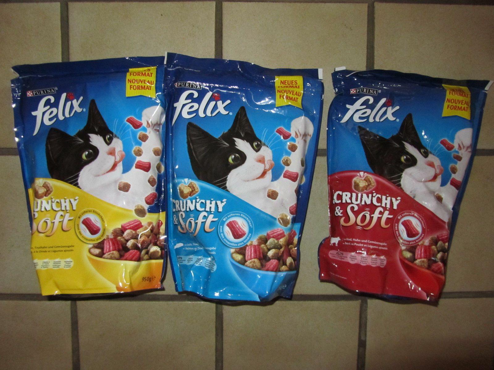 3 X Felix Crunchy Soft Katzen Trockenfutter Katzenfutter 3 X