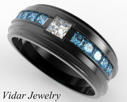 Black Gold Diamond Wedding Ring For A MenUnique White And Blue Diamonds RingBlack Gold Mens