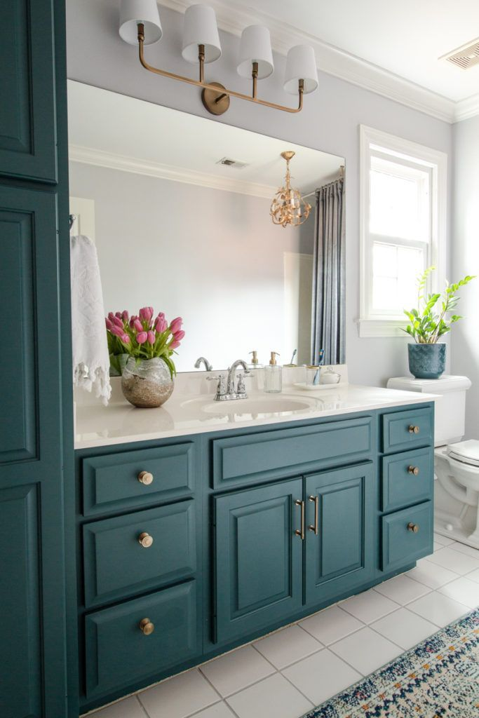 Photo of tutorial for painting cabinets in bathroom