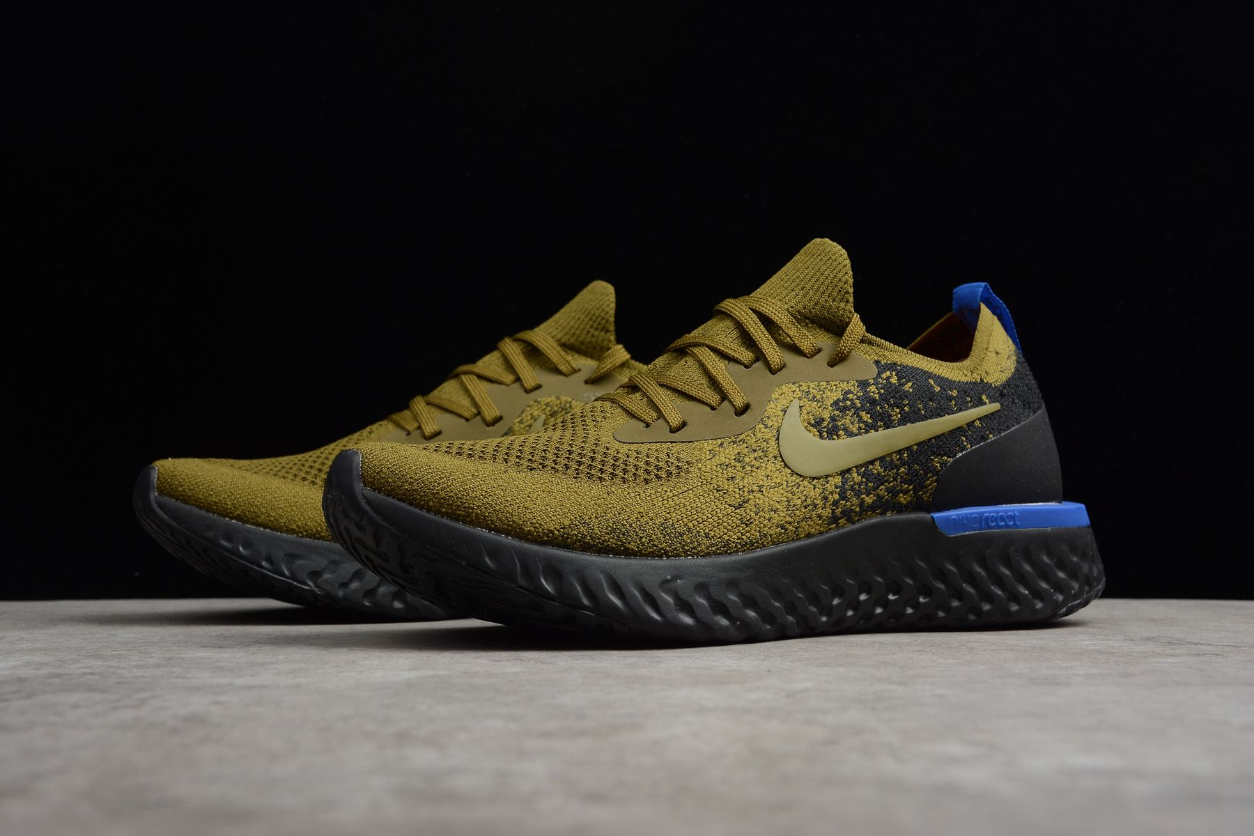 4ade937320c49 Men s Nike Epic React Flyknit Deep Green Gold Black-Blue AQ0067-301 ...