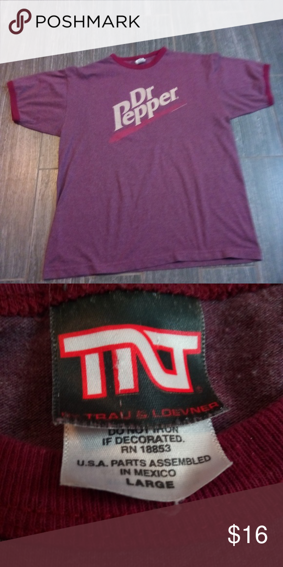 f9196881 Vintage Dr pepper t-shirt On a vintage tag Tnt (Trau & loevner) size L has  collar rings on both sleeves lightly used no holes no stains tnt Shirts Tees  ...