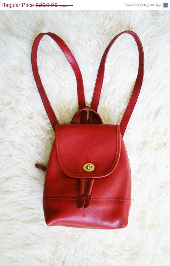 430cfa64a COACH Red Leather Mini Backpack Purse / vintage bags & purses ...