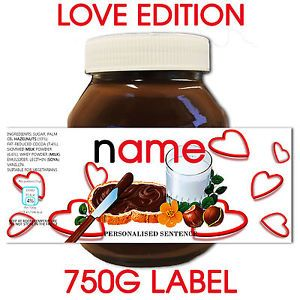 Personalised Valentines Nutella Label Great Gift For Someone You Love Him Her Nutella Label Personalized Valentines Nutella