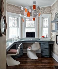 Desk on Pinterest Bay Windows Built In Desk and Panton Chair
