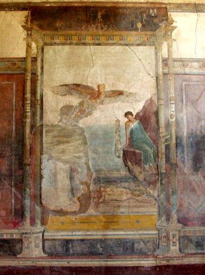 Fresco depicting Dedalus with outstretched wings looking down at the body of Icarus while a beautiful nymph sits on a rock - Villa Imperiale , Pompei