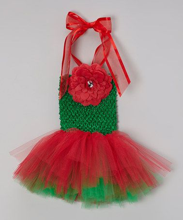 Take a look at this Red & Green Tutu Dress & Flower Clip - Infant, Toddler & Girls by Bride and Babies on #zulily today!