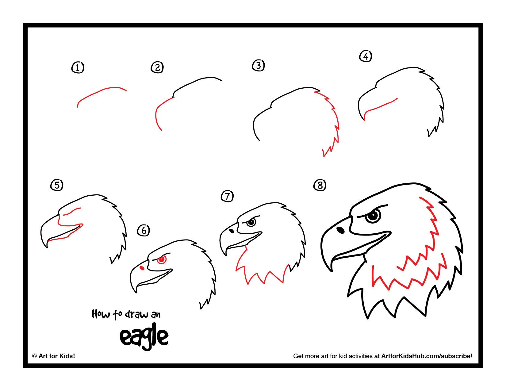Guided Drawing Eagle Kids  Click The How To Draw An Eagle Image