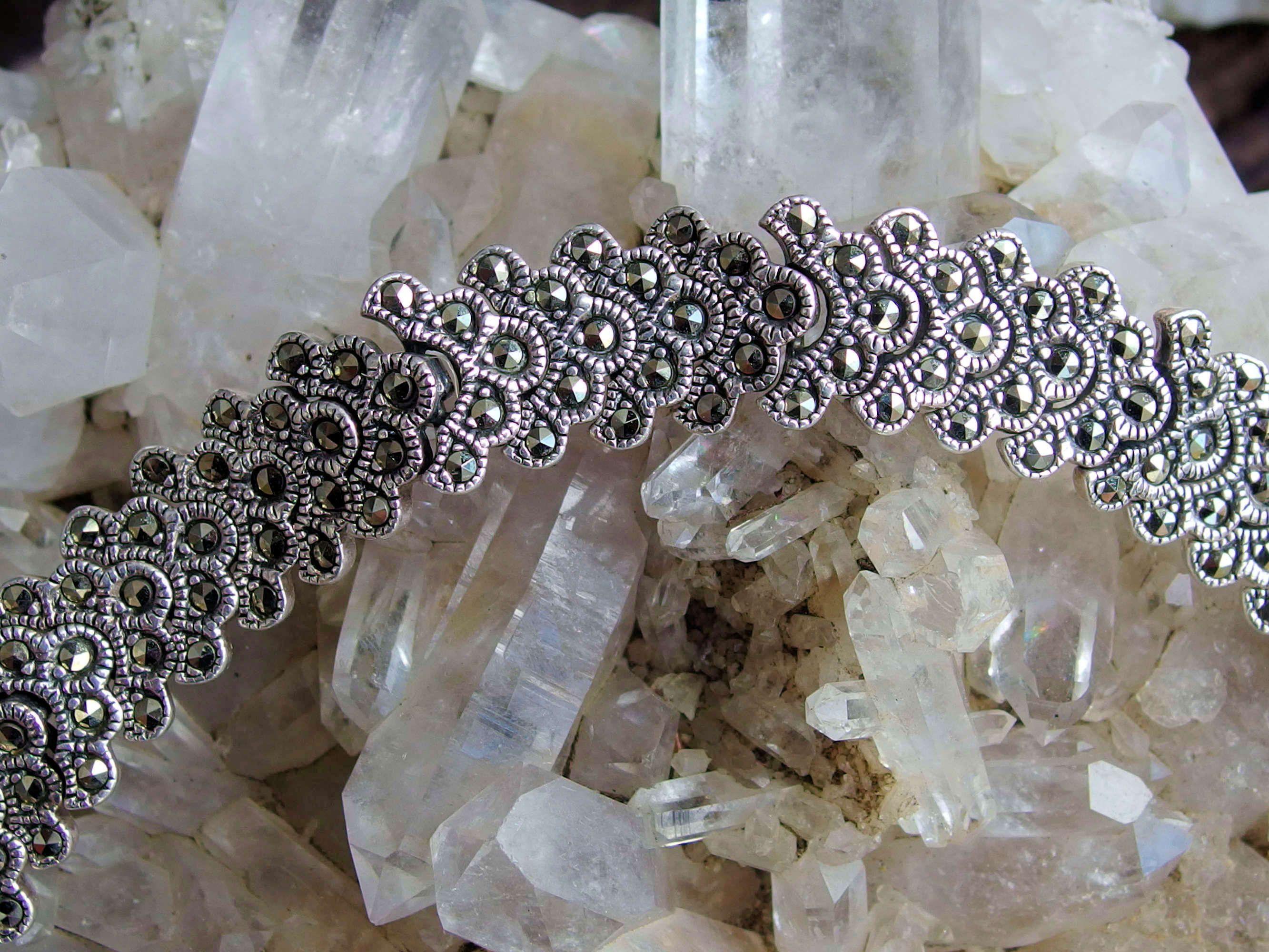 925 Sterling Silver Marcasite Gemstone All Around Tennis Link Bracelet 6 34