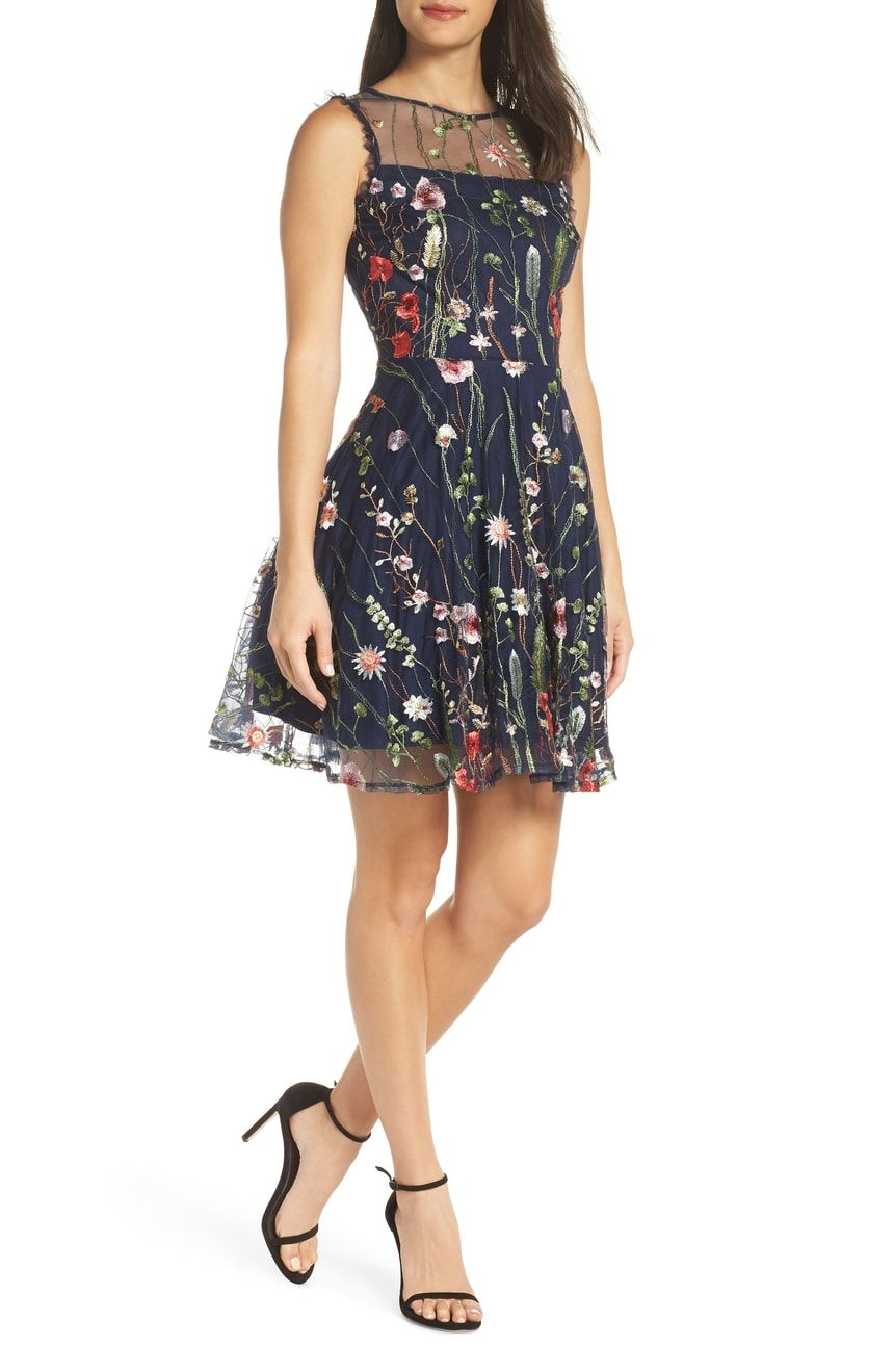 Morgan Co Embroidered Fit Flare Dress Nordstrom Flare Dress Mesh Cocktail Dress Flare Dress Outfit [ 1319 x 860 Pixel ]