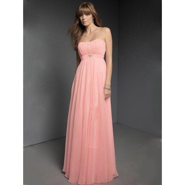 Pink Gentle Flat Ruffle Column Chiffon Beads Working Floor Length Bridesmaid Dress