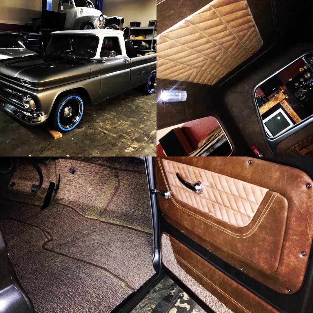 Car interior brown - 66 C10 Grey And White With Distressed Brown Leather Interior King Ranch
