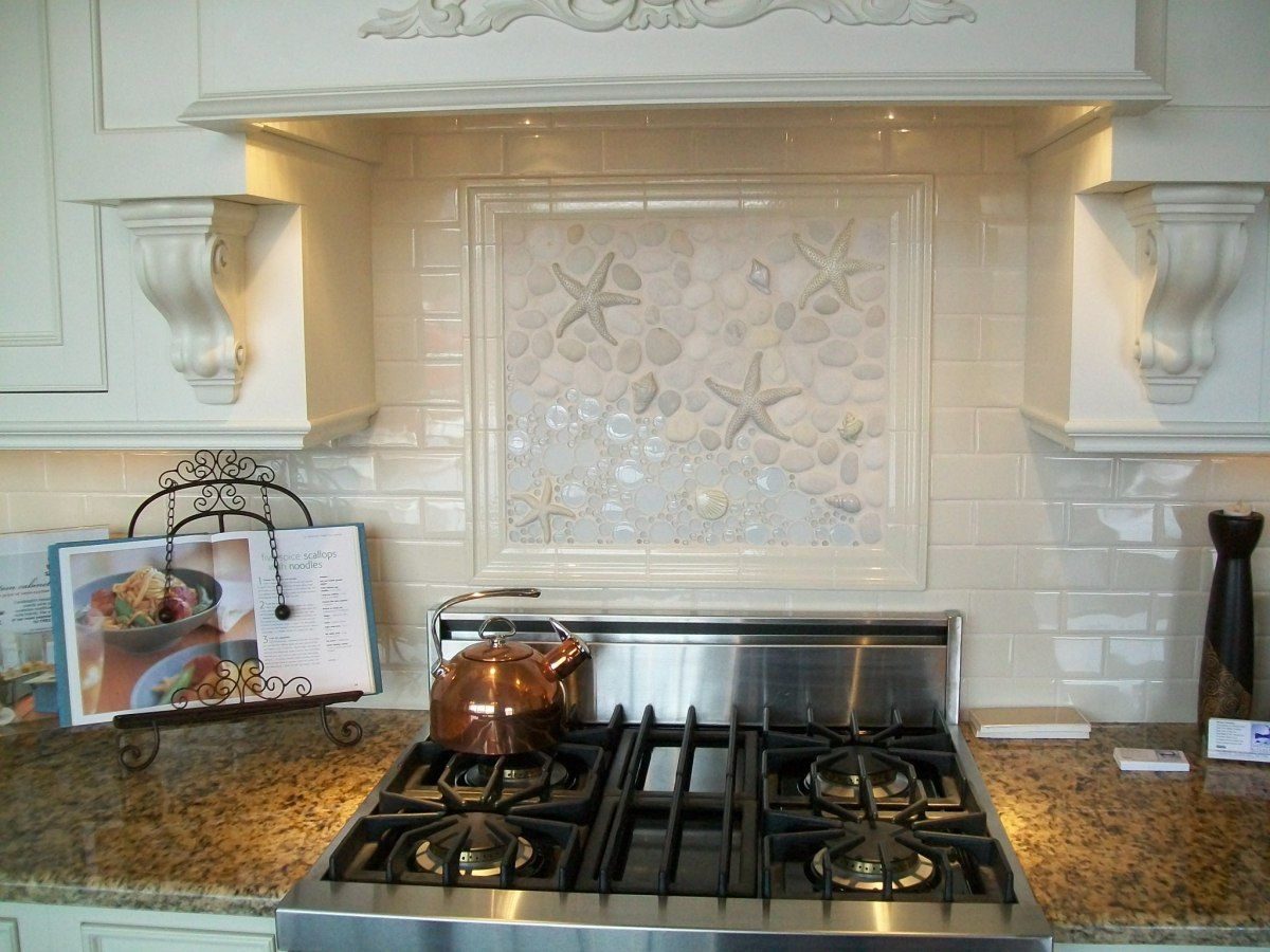 seashell kitchen backsplashes thoughts on seashell tile beautiful shell star fish back splash for over the cook top great for a beachy kitchen backsplash ideas