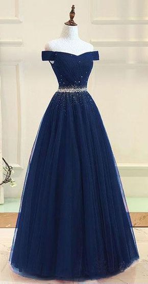 Photo of A-line Off The Shoulder Navy Blue Tulle Prom Dress With Beading PG737
