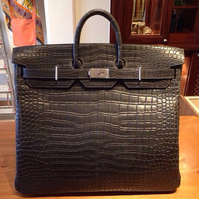 f897de9d32 Incredibly rare Hermes HAC Birkin in matte graphite crocodile with  palladium hardware.