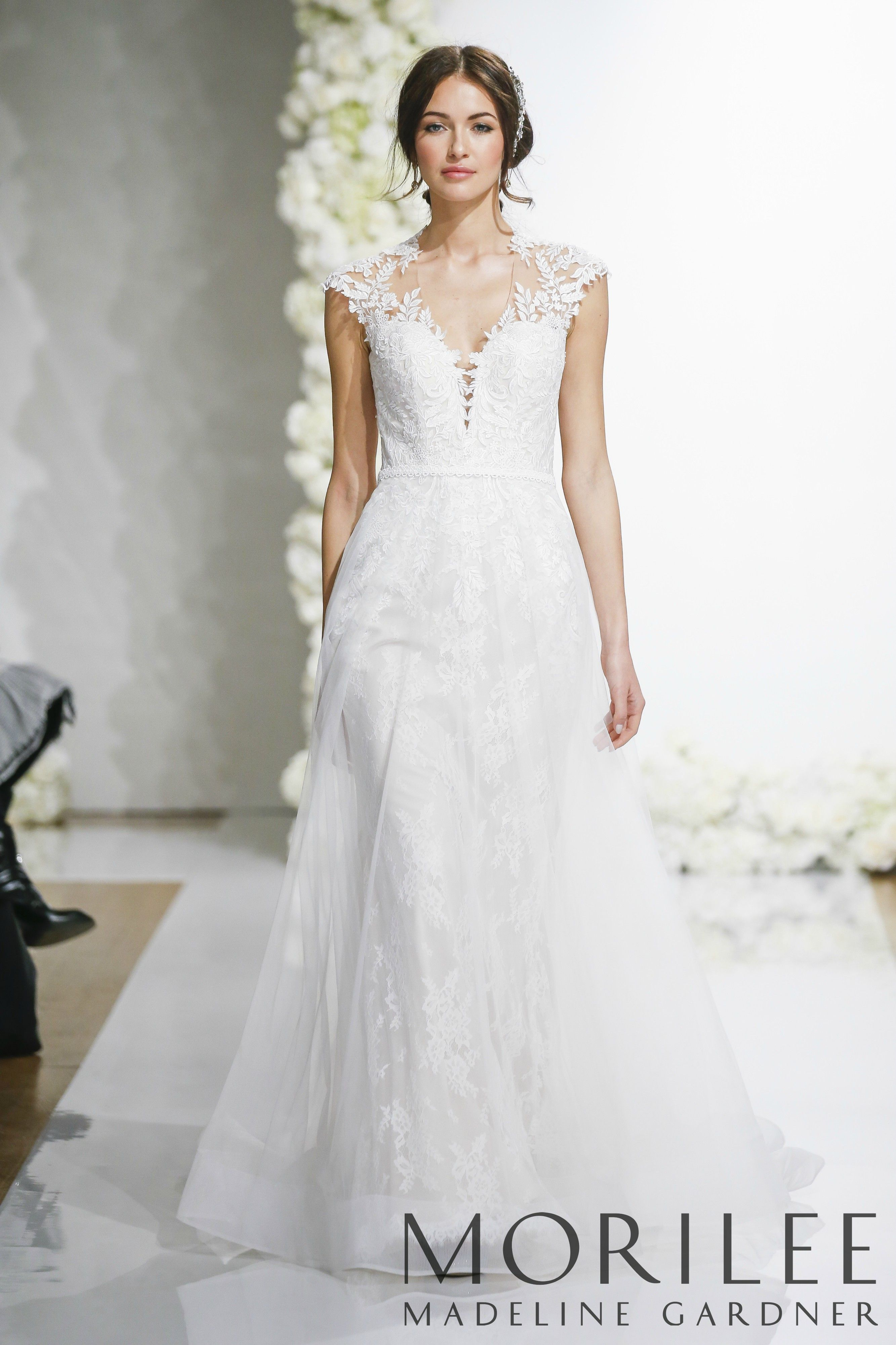 8fa47876 Morilee | Madeline Gardner, Lenore Style 5689 | Delicate and Romantic, this  Chantilly Lace Wedding Dress is Accented with Venice Lace Appliqués and a  Full ...