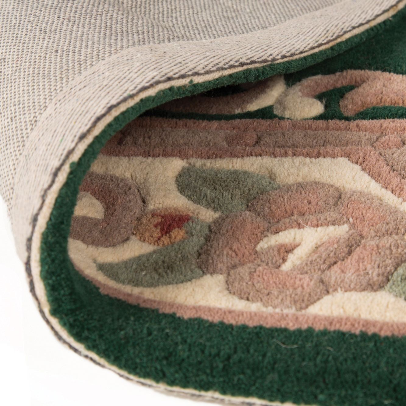 Half Moon Pure Wool Handmade Aubusson Chinese Rugs In Bottle Green