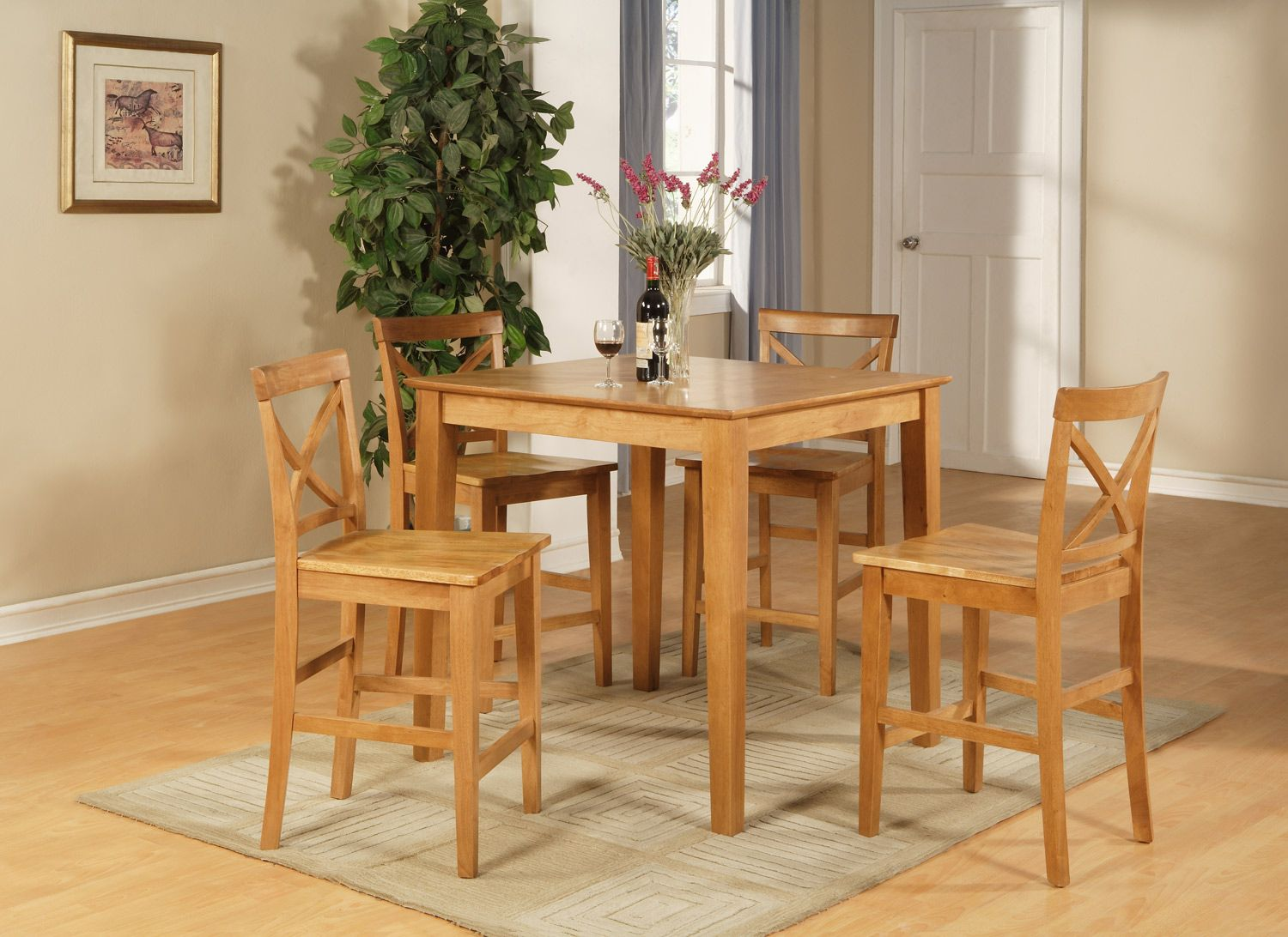 5pc Counter Height Pub Set in Oak Color | Couterheight Sets ...