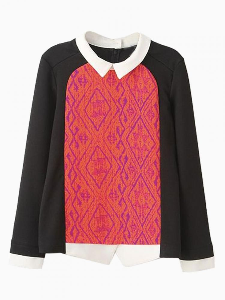 New Look Chiffon Blouse With Contrast Colour Collar - Choies.com