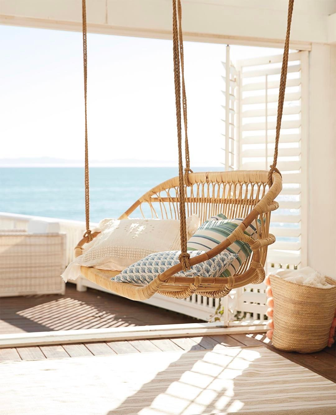 Hanging Rattan Bench from Serena u0026 Lily