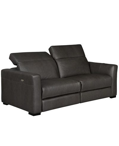 Nicolo Sofa With Two Power Recliners 82 Quot W X 43 Quot D X 32 Quot H Slate Gray 1099 00 Fu Leather Sofa