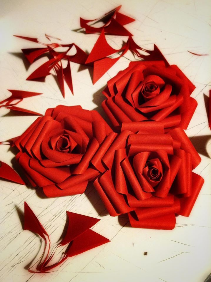 Paper red roses