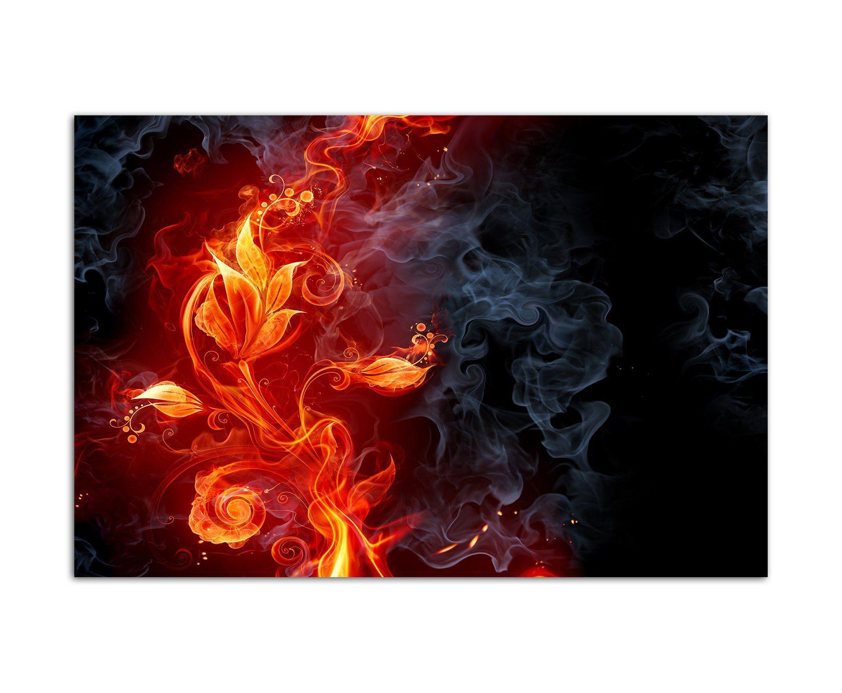 120x80cm   Fotodruck Auf Leinwand Und Rahmen Feuer Rauch Blume    Leinwandbild Auf Keilrahmen Modern Stilvoll