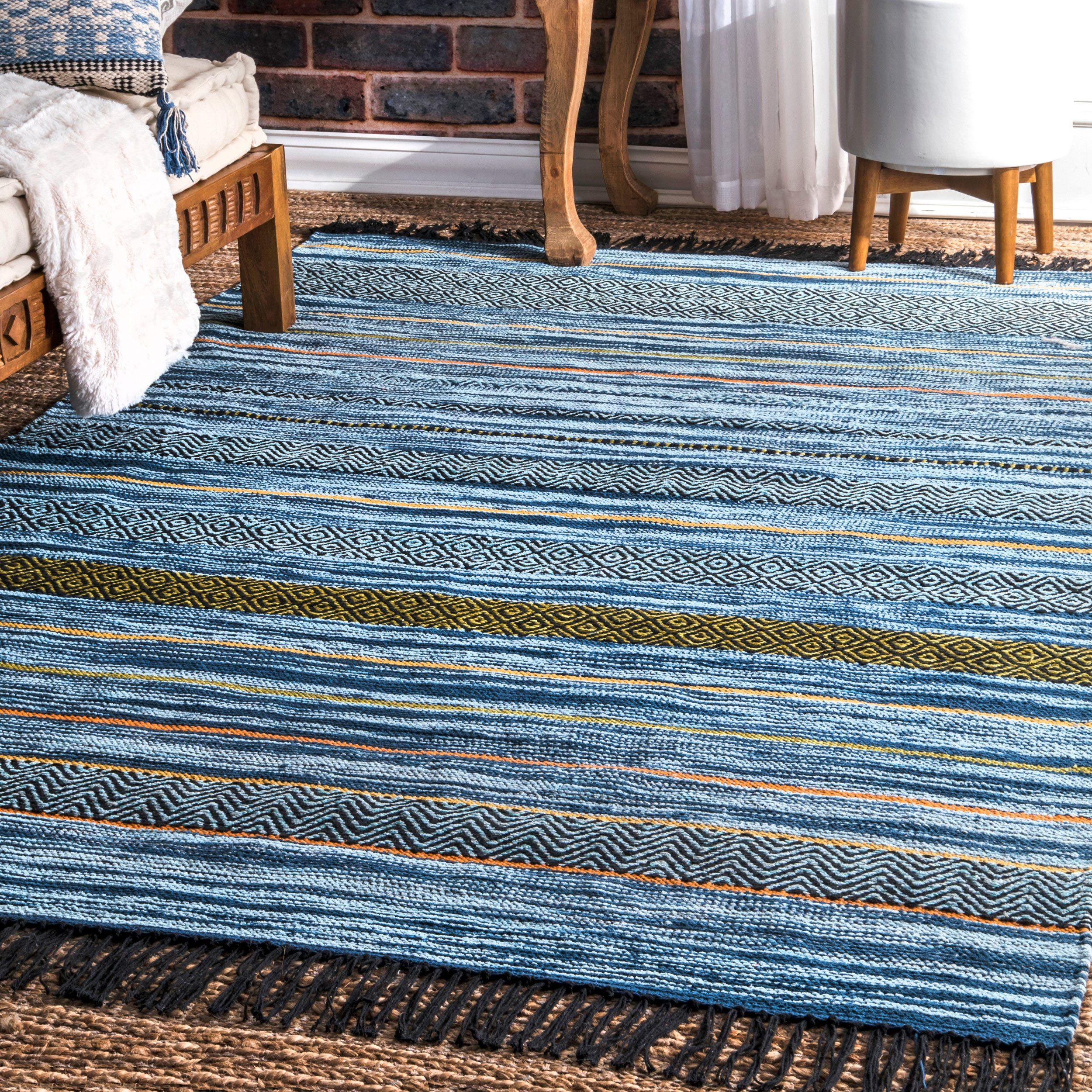 Nuloom Hand Loomed Stripes Tassel Ninonne Rug Rugs African Rugs South African Decor