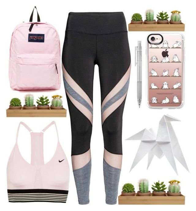 """""""Yoga Bunny"""" by sprinklesanddonuts ❤ liked on Polyvore featuring NIKE, Casetify, Muji, JanSport, Hermès, sporty and yoga"""