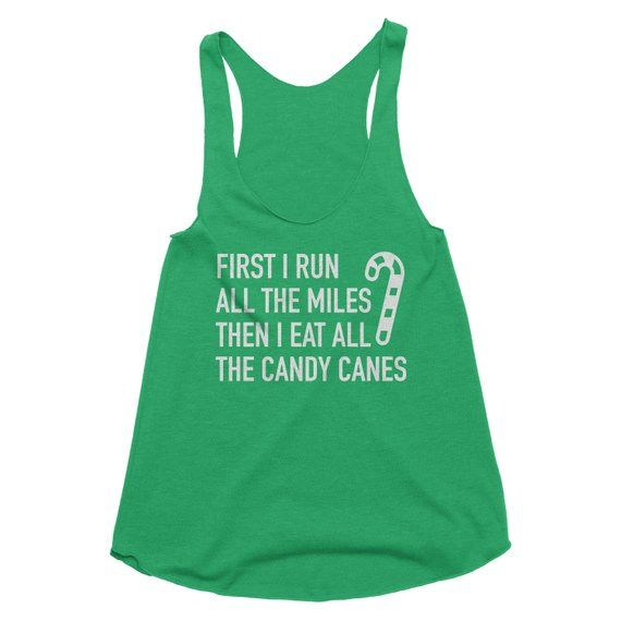 Funny Christmas Tank Tops.Run All The Miles Candy Cane Tank Top Funny Christmas Tanks 5k
