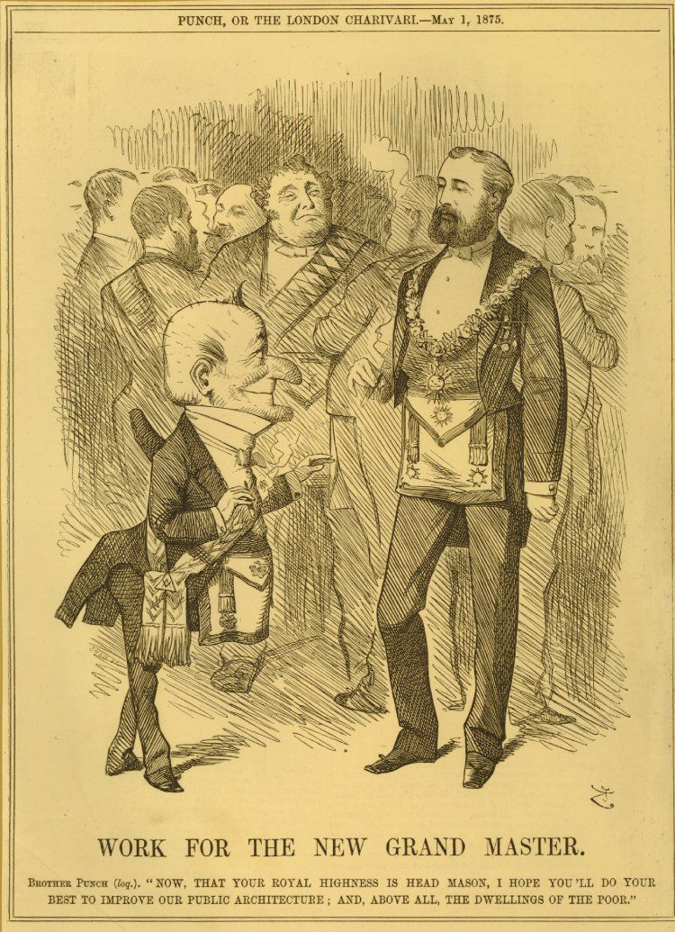 Punch greeting albert edward both wearing the freemason apron punch greeting albert edward both wearing the freemason apron crowd of other freemasons in m4hsunfo