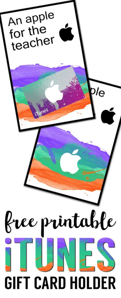 Apple Teacher Printable iTunes Gift Card Holder | Itunes gift ...