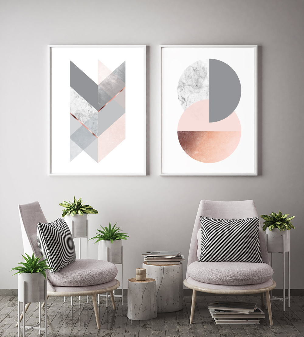 Wall Art Prints Set Geometric Posters Gallery Wall Home Decor Grey Blush Marble Copper Decor Diptych Scandinavian Prints Print Avenue In 2020 Copper Decor Decor Gallery Wall Decor