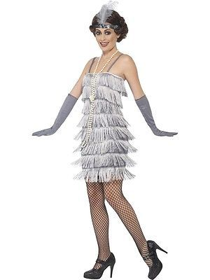 Adult Short Silver Flapper Costume 1920s Gatsby Ladies Fancy Dress Outfit New