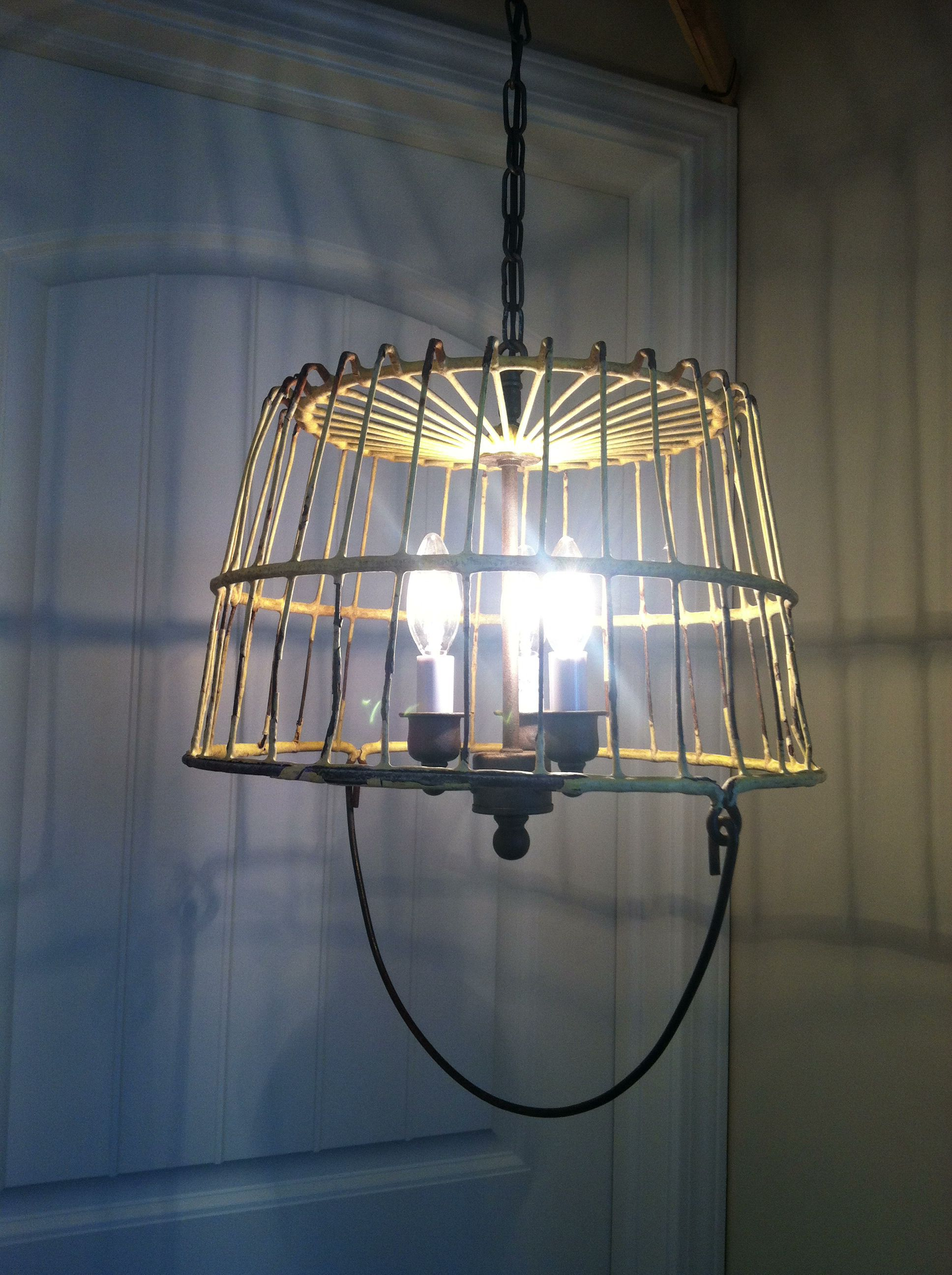 Chandelier Made From Repurposed Light Fixtures And A Wire Egg Basket For Relics See Facebook Com Relicsathome Light Fixtures Wire Egg Basket Basket Lighting