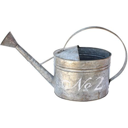 Perfect displaying a cluster of fresh blooms or as part of a cottage-inspired vignette in the sunroom, this weathered watering can features script typography...