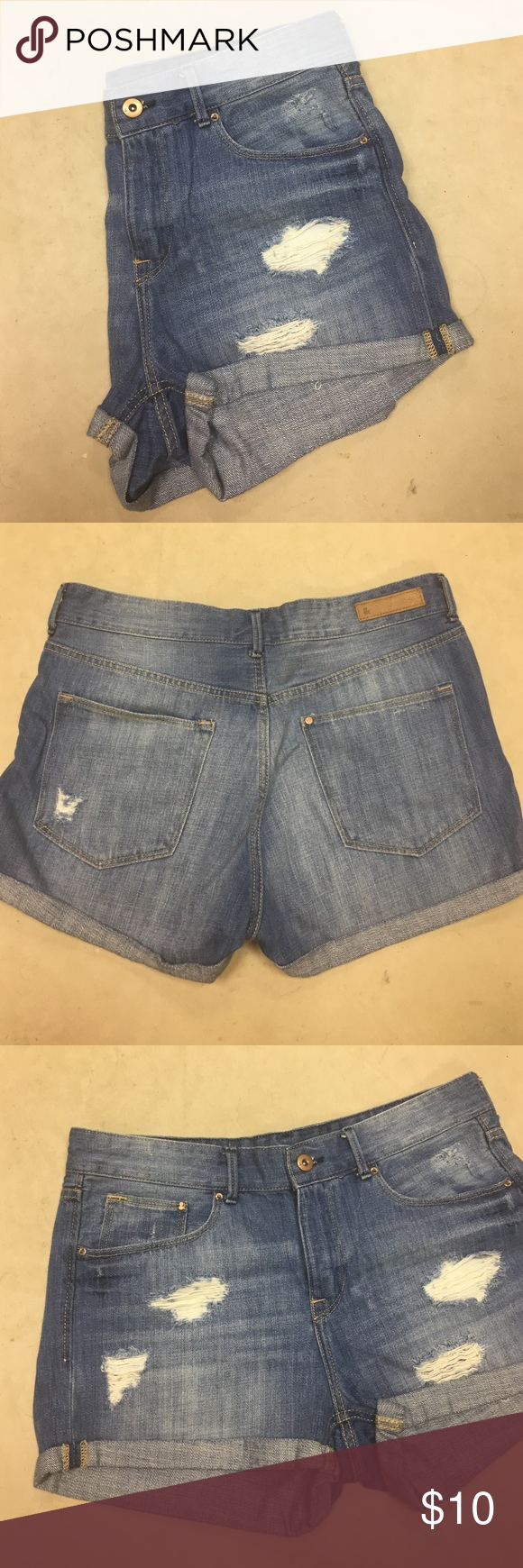 H&M Distressed Denim Shorts Faded Denim with distressing - only worn once - 5 functional pockets - like new condition H&M Shorts Jean Shorts